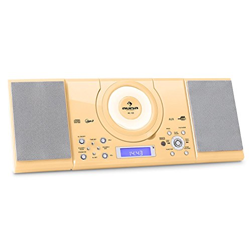 auna MC-120 • Stereoanlage • Kompaktanlage • Microanlage • MP3-fähiger CD-Player • UKW-Radiotuner • 30 Senderspeicher • USB-Port • AUX-IN • Weckfunktion • Dual-Alarm • LCD-Display • Fernbedienung • Boxen abnehmbar • Stand- und Wandmontage • creme