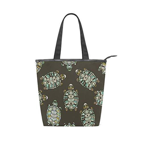 jeansame Canvas Tote Bag Damen Schultertasche Top Griff Taschen Shopper Handtaschen mit Reißverschluss Vintage Schildkröte Schildkröte Ocean Sea - Schildkröte Griff