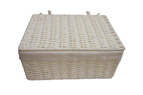 Arpan Geschenkkorb, Weidekorb mit Stoffeinsatz, traditionell weiß mit Deckel, Weihnachten, klein - 2