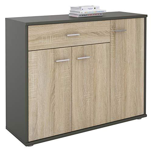 IDIMEX Buffet Coraline, Commode Meuble de Rangement avec 1 tiroir et 3 Portes, en mélaminé Gris Mat et décor chêne Sonoma