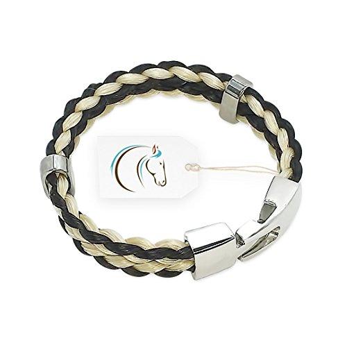 Bijoux Crin de Cheval - Bracelet Pour Femme et Homme - Collection Gallop - 18/19 cm - Noir et Blanc