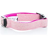Pet Pooch Boutique - Collar de Tweed para Perro, tamaño Mediano, Color Rosa