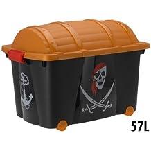 Caja para guardar pirata Caja ruedas juguete caja caja para juguetes Piratas–57L