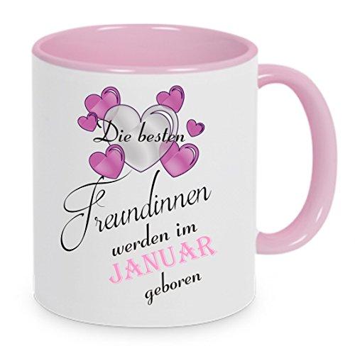 Die besten Freundinnen werden im Januar geboren - Kaffeetasse mit Motiv, bedruckte Tasse mit Sprüchen oder Bildern