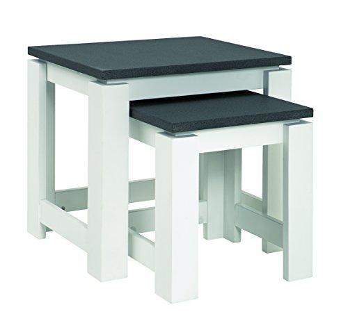 Haku Moebel 42578 Lot de 2 Tables, MDF, Optique Granit/Blanc, 35x46x43 cm