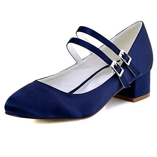 ElegantPark Femmes Fermé Toe Bloc Talon Mary Jane Pompes Satin Chaussures de Mariage Soirée Bleu Marine