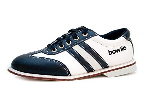 Bowlingschuhe - Bowlio Torino - aus Leder mit Ledersohle, Größe:45, Farbe:Schwarz/Weiss