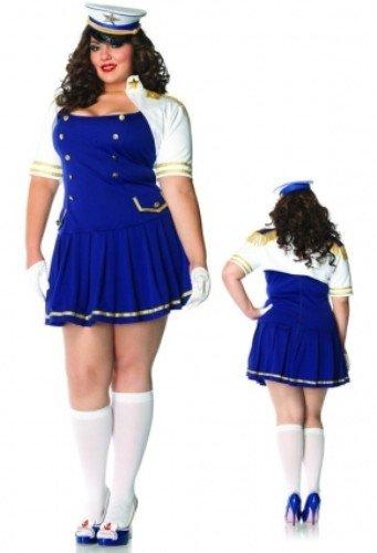 Leg Avenue 83826X - Ship Shape Captain Kostüm, Übergröße 44, blau/weiß (Sailor Übergröße Kostüm)