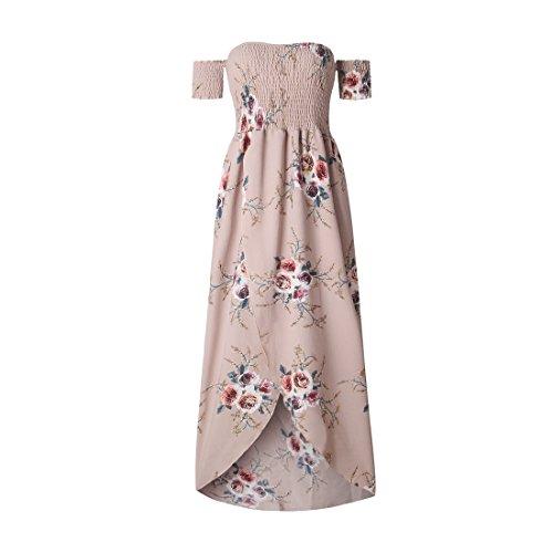 Shinekoo Damen MaxiKleid Sommerkleid Schulterfrei Blumendruck Split Bandeau  Lang Strandkleid Rosa