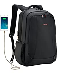 Fubevod Business Laptop Backpack with USB Charging Port laptop Rucksack 15.6 Inch Water-resistant Schoolbag Black