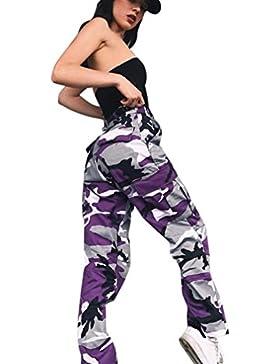 ALIKEEY 2018 ♛ Pantalones De Mujer Camo Cargo Camuflaje Casual Al Aire Libre Jeans Harem con Estampado Flores...