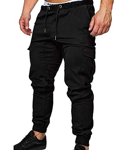 SANMIO Jogger Cargo Herren Chino Jeans Hose Herbst Winter Stretch Freitzeithose- Gr. EU L/ Etikettgröße: XL, Schwarz