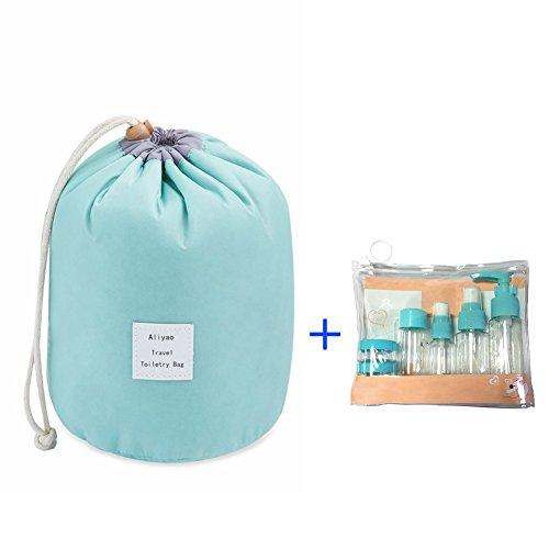 Wasserdicht Kosmetische Lagerung Tasche,Aliyao Reisen Make up Kosmetische Lagerung Tasche Grosse Kapazität Travel Kit Veranstalter Badezimmer Multifunktionale Eimer mit einem Reisen Toilettenartikel F Hellblau 2