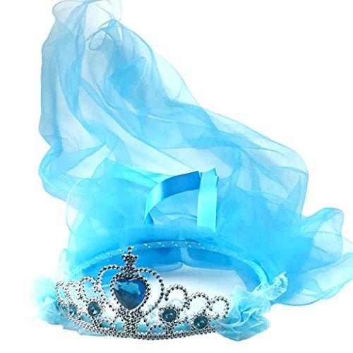 ge Schleier mit Krone für Mädchen, Tiara Strass Stirnband Kranz Party Kopfbedeckung M blau ()