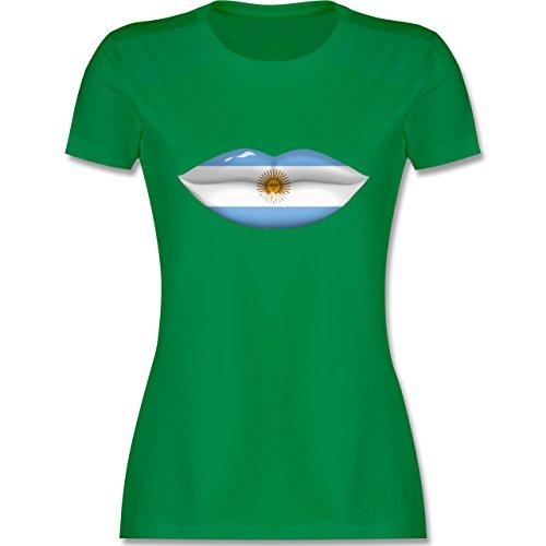 Länder - Lippen Bodypaint Argentinien - tailliertes Premium T-Shirt mit Rundhalsausschnitt für Damen Grün