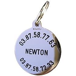 MACHU® - Médaille Chien chromée 3 cm Personnalisable- Convient à GRAND CHIEN - Gravure profonde et soignée incluse dans le prix.