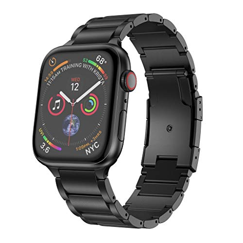 Feitb Mode Klassiker Ersatz Titanlegierung Uhrenarmband WristStrap Armband Casual, Geeignet formelle und Partybekleidung für Apple Watch Serie Geschäft 4 3 2 1 44mm 42mm (Schwarz) - Formel-serie