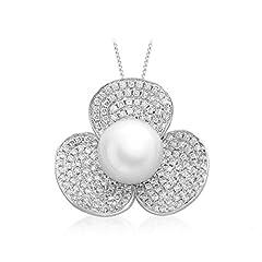 Idea Regalo - Carissima Gold Collana da Donna in Oro Bianco 18 k (750) con Diamanti e Perla Coltivata d'Acqua Dolce