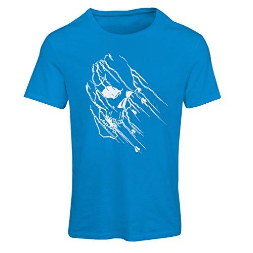 lepni.me Maglietta Donna Art Skull - Vintage t Shirts (Medium Azzulo Multicolore)