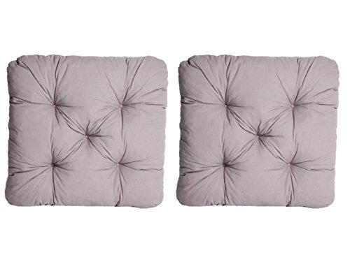 Ambient home Lot de 2 Galettes de chaise EVJE Gris Clair 50 x 50 x 8 cm 90029