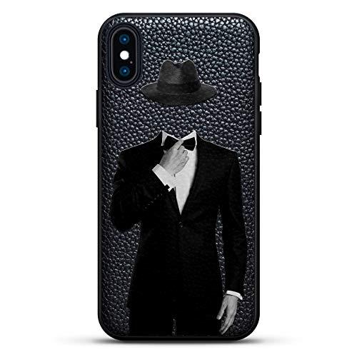 Lifestyle: Tuxedo & HAT Apple - Luxendary Leather Series Slim Edition Schutzhülle mit Echtleder-Rückseite & 3D-Druckdesign für iPhone XS Max (16,5 Zoll), Schwarz
