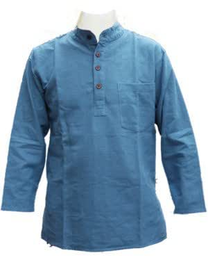 Blue Grandad Collarless Shirt Kurta Cotton Sizes Small to 5XL (4XL)