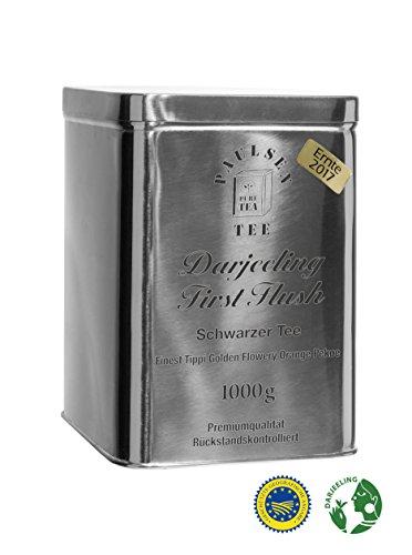 Darjeeling First Flush Ernte 2017, Schwarzer Tee in einer sehr hochwertigen Edelstahldose Silber glänzend 1000g