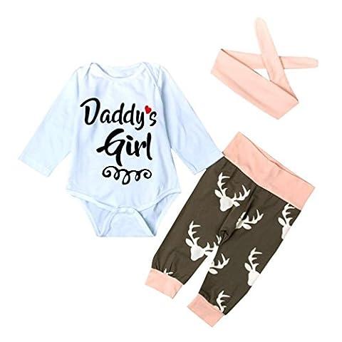 Ensemble de vêtements Bébé filles,Koly Nouveau-né bébé fille Romper Bodysuit +Pantalons + bande de cheveux (24 mois)