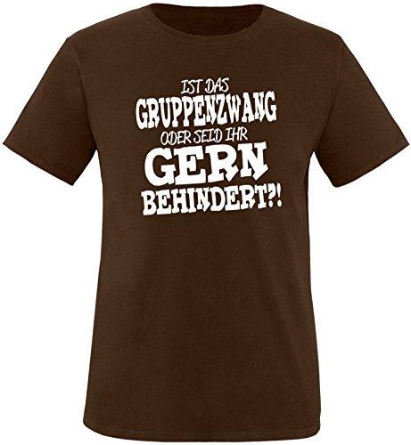 EZYshirt® Ist das Gruppenzwang oder seid ihr gern behindert Herren Rundhals T-Shirt Braun/Weiss