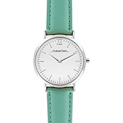 Andreas Osten Ladies Womens Silver Bezel Green Leather Wrist Watch A0-154