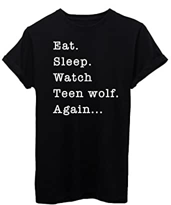 iMage T-Shirt Mangia Dormi Guarda Teen Wolf - Serie TV - Bambino-XS-Nera