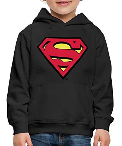 Spreadshirt DC Comics Superman Logo Original Kinder Premium Hoodie, 134/146 (9-11 Jahre), Schwarz