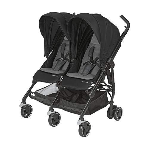 Maxi-Cosi Dana For zwei Zwillingskinderwagen, kompakter Geschwisterwagen, nutzbar ab der Geburt bis 3,5 Jahre (0-15 kf), kompatibel mit allen Maxi-Cosi Babyschalen, nomad black