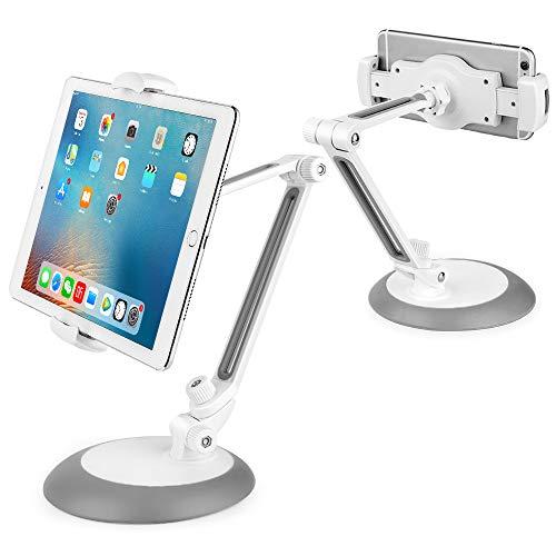 OneBear Tablet Ständer Verstellbare, Universal Handy Halter, Lang Arm Halterung, 360° Swivel Schreibtisch Klapp Dock für Pad Air Mini 2 3 4, Pad 2018 Pro 9.7, 10.5, Smartphone und Tablet mit 4~11 Zoll