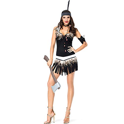 Erwachsene Frauen Halloween Indian Chiefs Indigene Mädchen Party Costasyr, Schwarzes Kleid, Cosplay Savage,Black,M