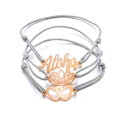 L_shop mehrschichtige Aloha Brief Geflochtenes Armband Set Doppel Liebe Lotus Boho Handmade Wrap Bangles Schmuck Geschenke