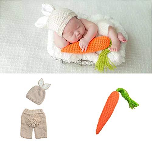Puseky 3 stücke Neugeborenes Baby Mädchen Cap + Shorts + Karotte Spielzeug Foto Fotografie Prop Outfits Set (Color : Beige, Size : 0-6M)