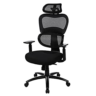 SONGMICS Silla giratoria de oficina Silla de escritorio de malla Altura de apoyabrazos ajustable con Reposacabezas Negro OBN89BK