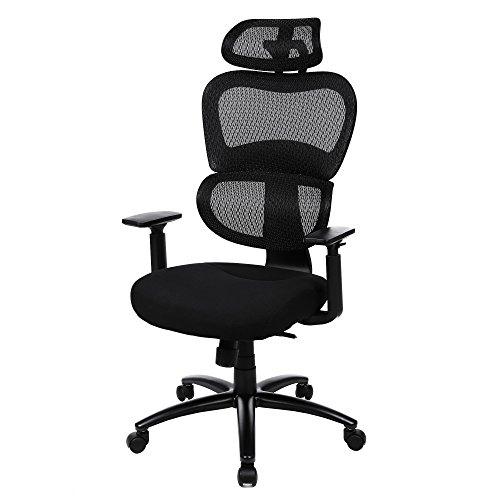 Songmics poltrona girevole sedia da ufficio ergonomica con braccioli regolabili in pu poggiatesta schienale largo nero obn89bk