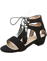 VogueZone009 Mujeres Cordones Esmerilado Sólido Mini Tacón Sandalias de Vestir, CCAYLP009197