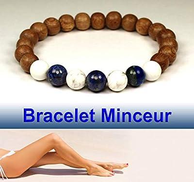 Bracelet minceur pour femme, favorise la perte de poids, lapis lazuli, howlite blanche et perle de bois, idée cadeau anniversaire femme