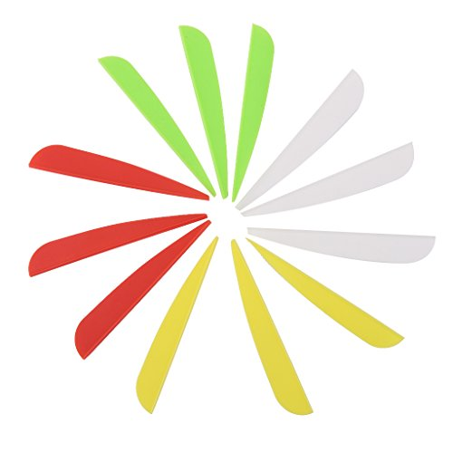 12pcs Couleurs Mélangées Fletching Empennage de Flèche en Plastique pour Tir à L'arc 3 inch