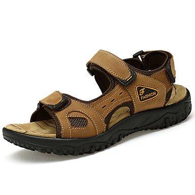 Classic Style Sommer Casual Herren Sandalen flachem Absatz haltbar Sandstrand Schuhe aus echtem Leder Hochwertige Slip-on Schuhe Kleidung Schuhe für/Outdoor/Casual Light Brown