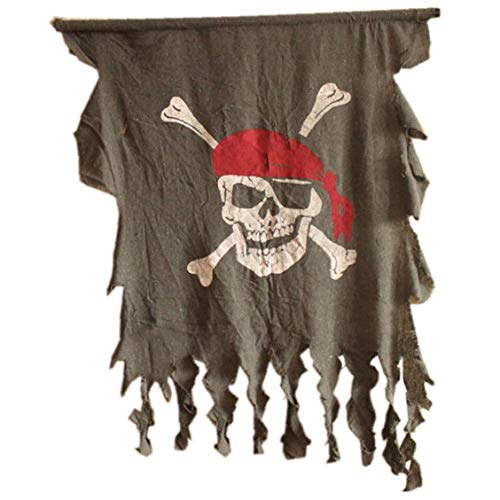 ttered Piratenflagge Red Bandana Skull & Crossbones Hanging Flagge (L) ()