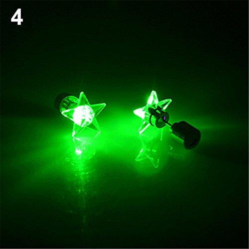 y LED Licht Stern Ohrringe Ohrstecker für Tanz-Party Weihnachten Halloween Festival Geschenk - Weiß, grün, Einheitsgröße ()