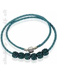 Hedea Collier torsadé simili cuir perles strass bleu canard a151ba669d77