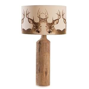 Lampe de table Cerf naturel Marron Beige Design Moderne Bois 45cm