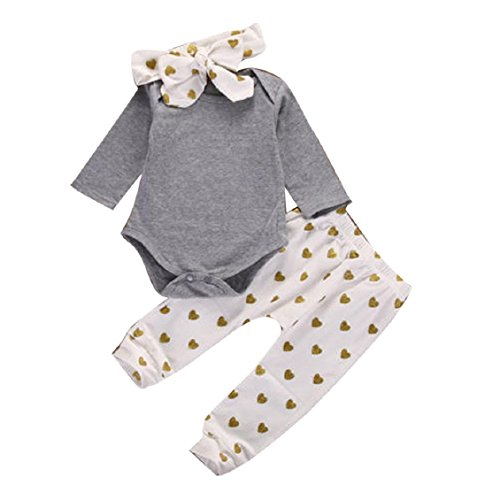 1 Set Baby Romper Tops+Long Pants+Hat Newborn Clothes Set, Transer® Boys & Girls Outfits 0-18 Months Infant Playsuits Kids Jumpsuits+Trousers+Hats/Caps Toddlers Bodysuits (0-3 Months, White)