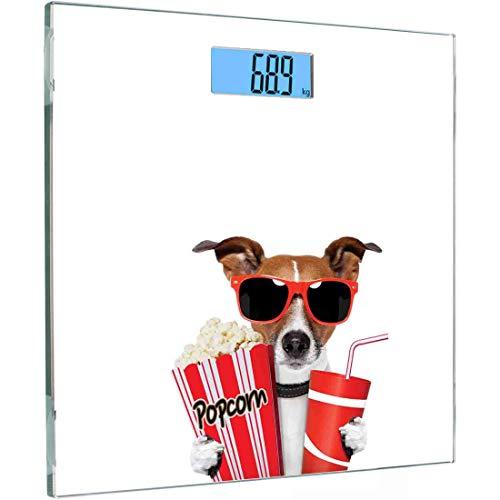 Ultra Slim Hochpräzise Sensoren Digitale Körperwaage Kino Gehärtetes Glas Personenwaage, Lustiger Hund Mit Sonnenbrille Sehen Sie sich einen Film mit Popcorn- und Soda-Aufdruck an, Mehrfarbig, B