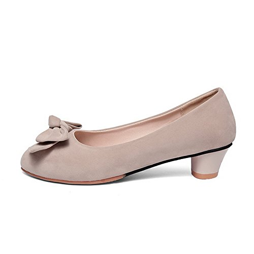AllhqFashion Damen Rein Nubukleder Niedriger Absatz Rund Zehe Pumps Schuhe Aprikosen Farbe